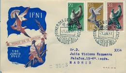 IFNI , ED.  135 / 137 - PRO INFANCIA , PALOMAS , AVES , BIRDS , SOBRE DE PRIMER DIA CIRCULADO , LLEGADA AL DORSO - Ifni