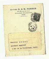 SEMEUSE Lignée 15c Perforé HMF Sur Lettre 1/11/1918 AVIONS H. & M. FARMAN Avec Courrier Intact - 1877-1920: Periodo Semi Moderno