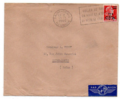 """Réunion -1960- Lettre De SAINT DENIS Pour St DENIS (France)--timbre, Cachet Flamme """"Coller Le Timbre..."""" - Storia Postale"""