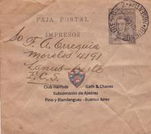 ARGENTINA. CLUB HARRODS GATH & CHAVES, SUBCOMISION AJEDREZ. ENTERO, FAJA POSTAL. CIRCULADO AÑO 1940. CHESS ECHECS -LILHU - Chess