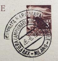 GIORNATA MARCONIANA  FIERA DI MILANO 1947 ANNULLO SPECIALE SU CARTOLINA POSTALE L. 3 PER ROMA IN DATA 26/6/1947 - 1946-60: Marcofilie