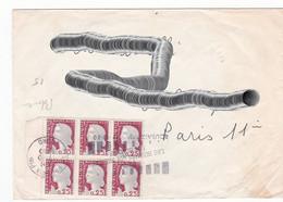 Lt0177  FRANCE Lettre  Roubaix Pour Paris 17 10 1980 /0.25c Marianne Decaris Bloc De 6 - Briefe U. Dokumente