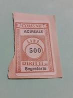 MARCA DA BOLLO DIRITTI DI SEGRETERIA COMUNE DI ACIREALE LIRE 500 - Fiscaux