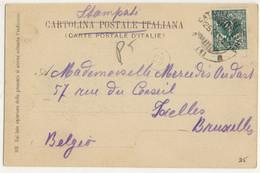 """ITALIE / ITALIA 1906 (25-1) Annullo Ambulante """" CATANIA-MESSINA • (1) • """" Su Cartolina Da TAORMINA A Bruxelles - Storia Postale"""