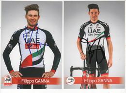 2 CARTES FILIPPO  GANNA   SIGNEES U A E 2017 - Cycling