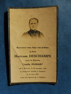 Image GENEALOGIE FAIRE PART DECES  DESCHAMPS PLISSART CHIEVRES GUIGNIES 1856 1927 - Avvisi Di Necrologio