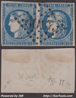 *RARE* Paire Du N° 45A Bleu Foncé TB (Y&T N° 45Aa Cote +360€) - 1870 Emission De Bordeaux