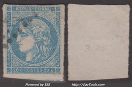 20c Bordeaux Bleu Clair Type II Report 3 Aspect TB (Y&T N° 45Cd Cote 70€) - 1870 Emisión De Bordeaux