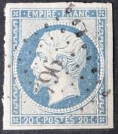 14Af (cote 15 €) Margé, Pli, Obl PC 796 Chateauroux (35 Indre ) Ind 2 - 1849-1876: Classic Period