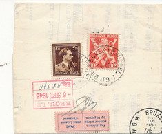 695 + 680 Sur Petite L Recommandé AR Bruxelles 9 1.9.45 - Retour étiquette Rose +2 Lettres Retour Avec EMA - 1936-1957 Offener Kragen