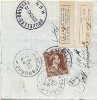 645 Op Kleine Aangetekende Brief Brussel 9 22.12.43 – Naar Gentbrugge 19.11.43 - Etiquette Afwezig En Huis Gesloten - 1936-1957 Offener Kragen