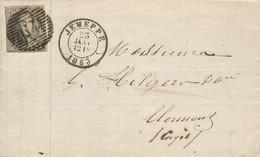 10A Sur Lettre Jemeppe 23 JAN 1863 Vers Clermont / Engis 23 Janv - 1849-1865 Medaillen (Sonstige)