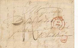 Précurseur Namur 22 FEV 1844 Vers Châtelineau - SR Via Char-leroi - 23 FEV 1844 - 1830-1849 (Unabhängiges Belgien)