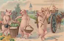 CPA Glacée Cochon Humanisé Position Humaine Porc Pig Pigglet Marchand Ambulant Ane Charrette  (2 Scans) - Schweine