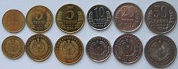 Uzbekistan - Set 6 Coins 1 3 5 10 20 50 Tiiyin 1994 UNC Bank Bag - Uzbekistan