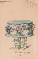 CPA Aquarellée Peinte à La Main La Mode 1909  Eté Femme Lady Chapeau Immense Illustrateur  ROBERTY (2 Scans) - Andere Zeichner