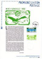 """"""" 1ERE LIAISON POSTALE NANCY / LUNEVILLE """" Sur Document Philatélique Officiel De 2012. N°YT PA 75. Parfait état. DPO - 2010-...."""