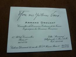 CARTE DE VISITE MANUSCRIT ARMAND DROUANT CONSEILLER DU COMMERCE EXTERIEUR DE LA FRANCE PARIS VILLEFRANCHE - Visiting Cards