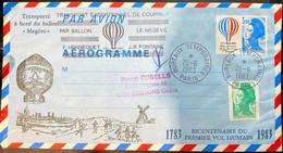 """Aérogramme 1983 """"transport Exceptionnel De Courrier Par Ballon Le Megève"""" - Aerogrammen"""