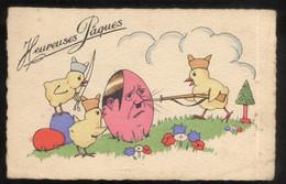 CPA Illustrée Heureuses Paques - Hitler Entouré De Poussins - Non Circulée - 1900-1949