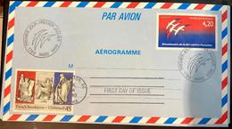 Bicentenaire De La Révolution - Aérogramme FDC - Timbre USA - Cachet Washington Et Paris - Aerogrammen