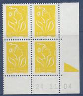 N° 3731 Marianne De Lamouche Valeur Faciale 0,01 € X 4 Date 24/11/04 - 2000-2009