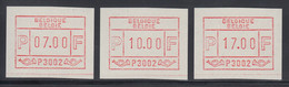 Belgien FRAMA-ATM Nr.1.1 P3002 Satz 7-10-17 Aus OA Als Gummidruck-ATM **  - Postage Labels