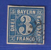 Altdeutschland Bayern 3 Kreuzer Blau Mi-Nr. 2 II Mit Mühlradstempel - Bayern