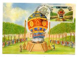 """SAO TOME E PRINCIPE  --1983-- FDC Carte Postale  """" 200ans Du 1er Vol En Montgolfière """" (ballon) - São Tomé Und Príncipe"""