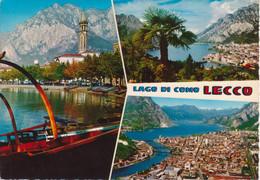 LECCO - VEDUTINE MULTIVUES - BARCA A CERCHI - PANORAMI - VIAGGIATA 1974 - Lecco