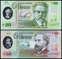 Uruguay 20 And 50 Pesos (2020), Serie A , Polymer, UNC - Uruguay