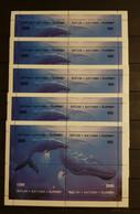 BATUM MARINE LIFE DOLPHINS LOT 5 M/SHEETS PERFORED MNH - Delfines