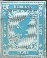 SCOTLAND - HEBRIDES SPECIAL POST, LEWIS - Map - Imperf Single Stamp - Mint Never Hinged No Gum - Local Cinderella - Cinderelas