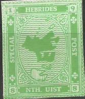 SCOTLAND - HEBRIDES SPECIAL POST, NORTH UIST - Map - Imperf Single Stamp - Mint Never Hinged No Gum - Local Cinderella - Cinderelas