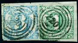"Thurn & Taxis Michel-# 20-21 "" 2x Zentr. 4-Ring-o 220 Auf Briefstück "" Michel 35 € - Thurn Und Taxis"