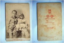 PHOTO GRAND CDV 19 EME FRERE ET SOEUR  MODE Cabinet BONAME A BESANCON - Old (before 1900)