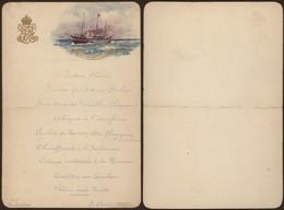 """Angleterre - Petit Menu Du Paquebot """"H.M.Y. Victoria And Albert"""" (Cowes, Ile De Wight 5 Aout 1906) - Menus"""