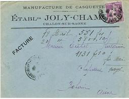 ENVELOPPE  A EN-TETE MANUFACTURE DE CASQUETTES CHALON SUR SAONE - 1921-1960: Période Moderne