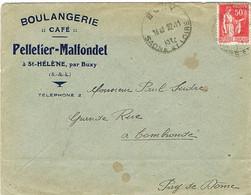 ENVELOPPE  A EN-TETE BOULANGERIE CAFE PELLETIER-MALFONDET ST HELENE PAR BUXY SAONE ET LOIRE - 1921-1960: Periodo Moderno