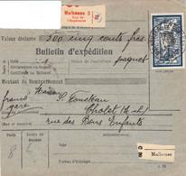Bulletin Colis Mulhouse 3 Rue De L'Espérance 17/10/1927 VD 500F Avec Un 5F Merson NON Perforé - Briefe U. Dokumente
