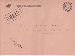 Lettre 1987 TàD Manuel Hexagonal Type D9 Usage Tardif 94 LA VARENNE ST HILAIRE A VAL DE MARNE En Franchise - 1961-....