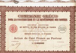 75-GRECO POUR LA FABRICATION ET LE REVÊTEMENT DES ROUTES.  Action  Lot De 3 - Other