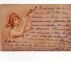 CPA    ART NOUVEAU ?---JEUNE FEMME JOUANT DE LA MUSIQUE AVEC UN INSTRUMENT BIZARRE---1903 - 1900-1949