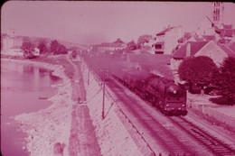 Photo Diapo Diapositive Slide Train Locomotive Vapeur SNCF 141 P 262 En Tête Du Train Du RA à 51 Dormans VOIR ZOOM - Diapositives (slides)