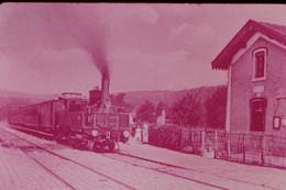 Photo Diapo Diapositive Slide Train Locomotive Vapeur 35 Ouest à 91 Igny Ceinture En 1906 VOIR ZOOM - Diapositives (slides)