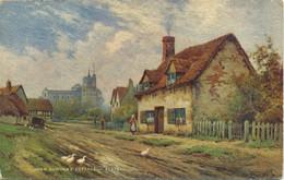 BEDS - TUCKS OILETTE 3587 - JOHN BUNYAN'S COTTAGE, ELSTOW, BEDFORD - By ALFRED De BREANSKI - Bedford
