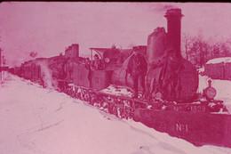 Photo Diapo Diapositive Slide Train Locomotive Vapeur 1829 P.L.M à 39 ANDELOT Dans La Neige En 1907 VOIR ZOOM - Diapositives (slides)