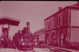 Photo Diapo Diapositive Slide Train Locomotive Vapeur 1051 Midi à 66 Vinça En 1908 VOIR ZOOM - Diapositives (slides)