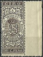 ESPAÑA COLONIAS GIRO ISLA DE PUERTO RICO  50 Cts. De Peso ** Mnh - Porto Rico