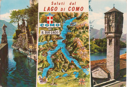 LENNO - PUNTA BALBIANELLO E TORRE GOTICA - LAGO DI COMO - CARTA GEOGRAFICA FISICA - VEDUTINE MULTIVUES - VIAGGIATA 1984 - Other Cities
